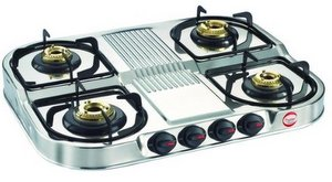 Prestige Stainless Steel 4 Burner Gas Stove, Silver