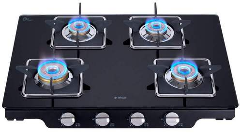 Elica Glass 4 Burner Gas Stove with Square Grid
